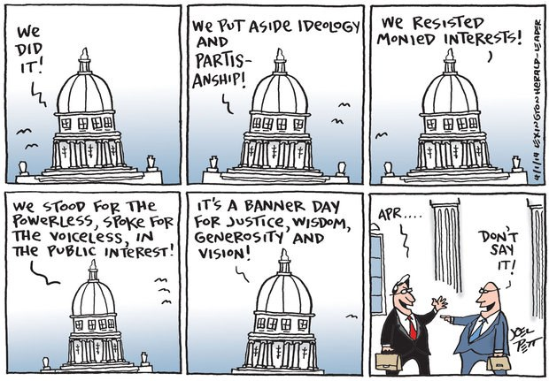 America's congress, a sad but true April Fool (from Joel Pett, Lexington Herald-Leader)